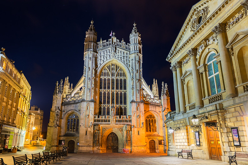 Bath Abbey at Night, Bath, England