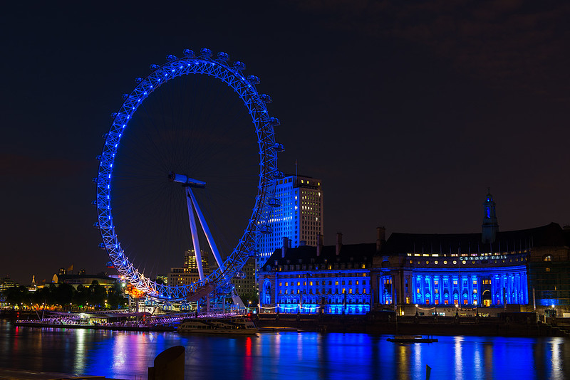 London Eye and Thames River at Night, London, England