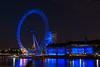 London Eye and Thames River at Night, London, England