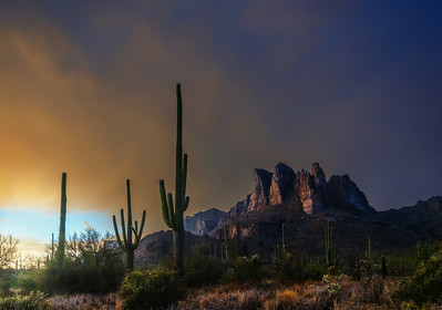 052 - Three Sisters Sunset - Superstition Mountain