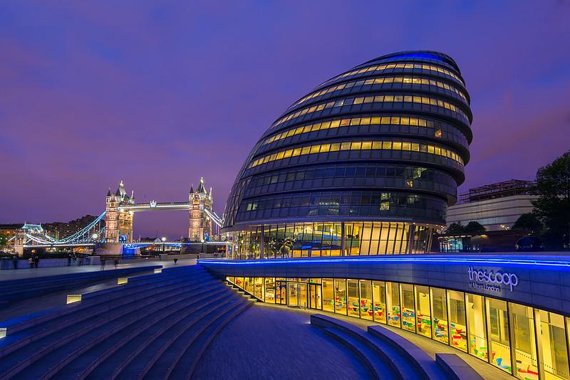 London City Hall and London Bridge at Twilight, London, England