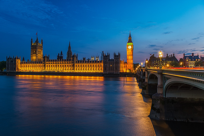 Parliament and Westminster Bridge at Twilight, London, England