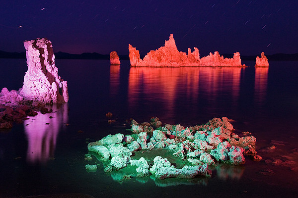 #252 Mono Lake Tufa Formations by Colored Flashlight, CA