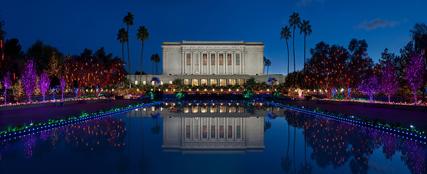 Christmas Lights and Reflection Pool at the Mesa Arizona LDS Temple