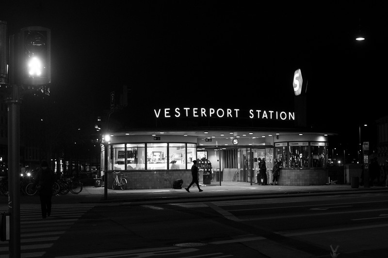 Vesterport Station by night