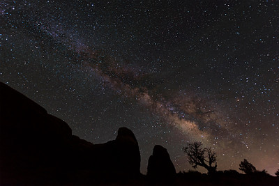 Summer Milky Way over Windows, at Arches National Park