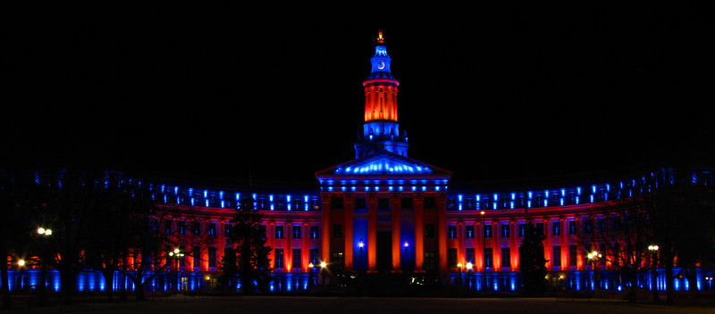 City and County Building, Denver Colorado. In honor of the Denver Broncos - January 2012.