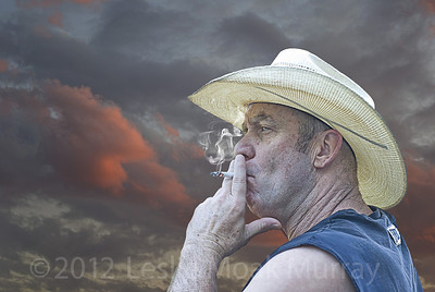 Cowboy-Smoking-Cigarette-at-Sunset