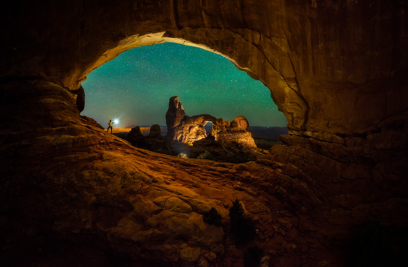 Large scale light painting in Arches National Park (lots of running back and forth for this one!).