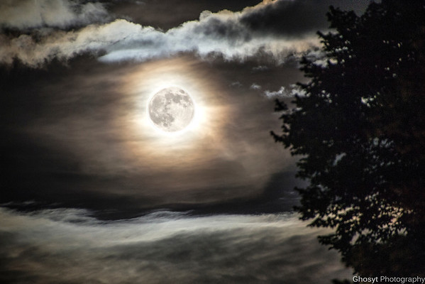 """Composite of two photos taken of the """"Super Moon"""" from last night.  No fancy location choices, just shot outside an apartment complex."""