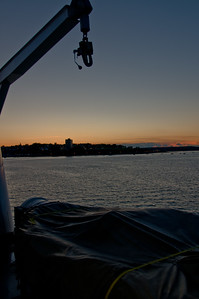 "Another sunset shot taken from the rear deck of ""The Cat"" (Lifeboat / launch in foreground)"