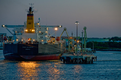 An Italian cargo ship docked in Maine