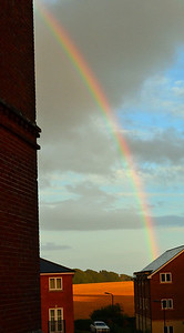 As i left the flat tonite, very large rain shower and then an amazing Rainbow, very close
