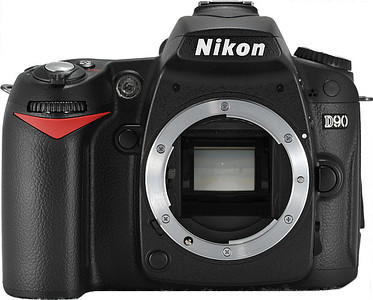 """Nikon D90 12.3-megapixel DX-format CMOS, 3"""" High resolution LCD display, Scene Recognition System, Picture Control, Active D-Lighting, and one-button Live View. Exclusive D-Movie Mode Record cinematic-quality movie clips at up to 720p HD (1280 x 720 pixels), or lower quality at 320 x 216 pixels & 640 x 424 pixels in Motion JPEG format with the professional smoothness of 24 frames per second."""