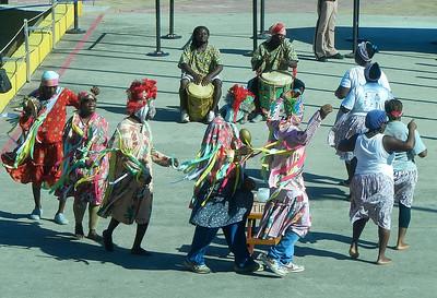 Local dancers greet the ship in Roatan, Honduras.