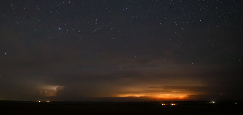 Perseid meteor and distant lightning in western South Dakota