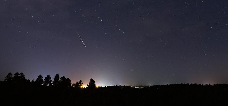 Perseid meteor over western South Dakota