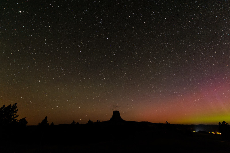 Devils Tower Wyoming and Aurora