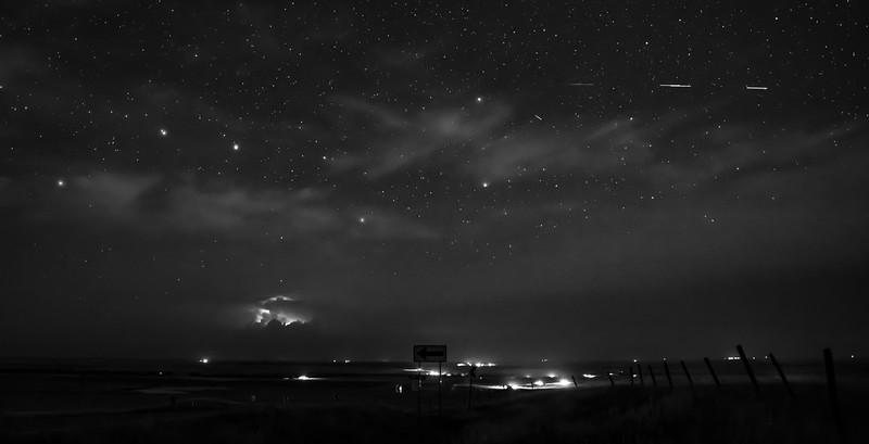 Starlink satellites over western South Dakota
