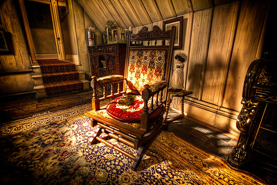 The Memory Chair:  7 exposures, tonemapped in photomatix, made the shadows a bit darker, then given lens vignette effect in PS to make it a bit more dramatic.  Of all the items in Highwic house that grabbed my attention this chair really had a hold on me. I began shooting it and before too long realised I'd taken far more sets than I needed. The light was coming in just right from the very small windows on the westward side, seemingly spotlighting it. Each time I've come back to the RAW's in Lightroom and during the post process, this chair has brought back snippets of very old memories for me.   More on my Blog