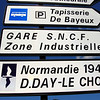 Signs on the way to Normandy and Historical sites