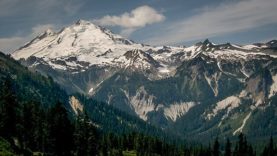 Mount Baker seen from Lake Ann trail. North Cascades.