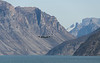 Canadian maritime patrol aircraft makes a flyby in Sam Ford Fjord, Baffin Island, Canada