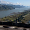 A panorama showing the Columbia River. Washington State is on the left, and Oregon to the right of the river.