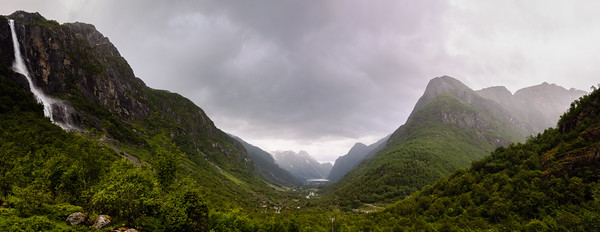 Looking down the valley towards the Oldevatnet.  The Briksdalsbreen is in the valley to the right of the picture.  Jostedalsbreen National Park, Norway