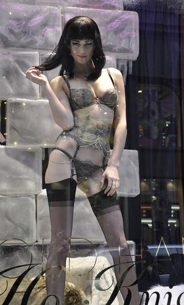 December 4, 2010.<br /> <br /> Live lingerie model in a Soho storefront.<br /> <br /> Too racy for Smugmug?