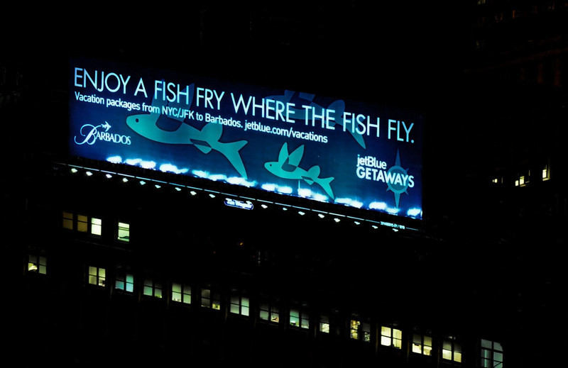 July 13, 2011 Daily Photo. ( Taken 7/9/11)<br /> <br /> Fry Fly Fish.<br /> <br /> A billboard in downtown Brooklyn.