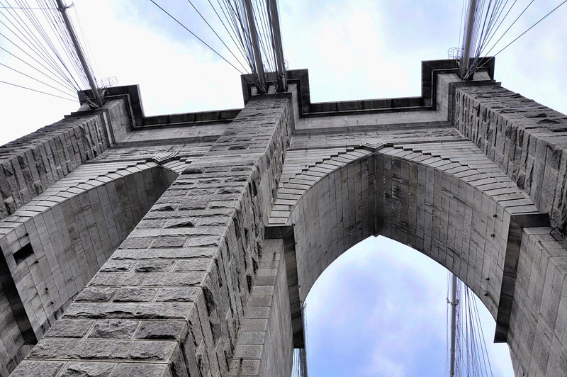 July 29, 2011 Daily Photo ( Taken 7/24/11).<br /> <br /> Brooklyn Bridge.<br /> <br /> Looking up at the towers.
