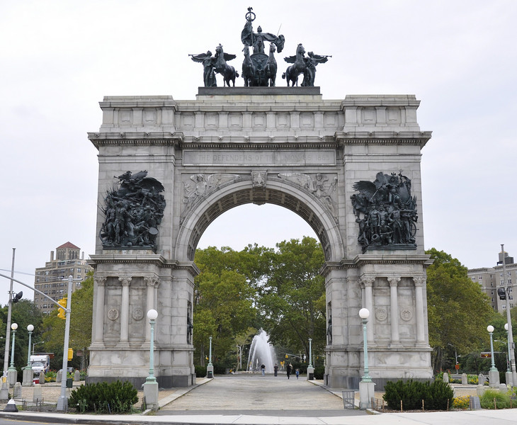 September 26, 2010.<br /> <br /> Soldiers and Sailors Arch at Grand Army Plaza at the entrance to Prospect Park, Brooklyn.<br /> <br /> Grand Army Plaza in Brooklyn, New York is an 11-acre oval plaza that forms the main entrance to Prospect Park. It was designed by Frederick Law Olmsted and Calvert Vaux  in 1867. <br /> <br /> It is also the site of the Bailey Fountain and a monument to John F. Kennedy, as well as statues of Civil War generals Gouverneur Kemble Warren and Henry Warner Slocum.<br /> <br /> Prospect Park is behind me. I rode my bike around it's 3.35 mile bike route to check out the park on my first visit there.