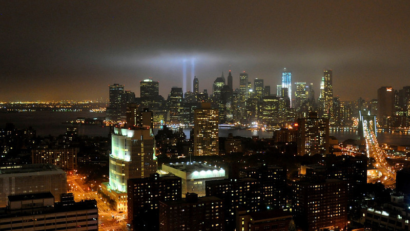 September 11, 2011. ( Part 2)<br /> <br /> View of the Tribute in Light from downtown Brooklyn.