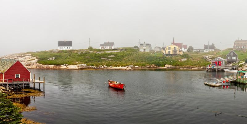 Panorama of a Foggy Peggy's Cove in Nova Scotia, Canada