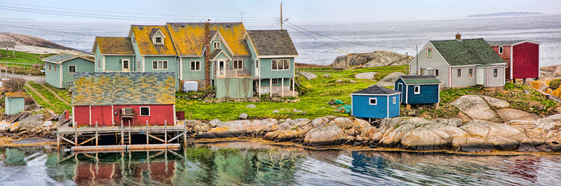 Peggy's Cove Houses Panoramic - Nova Scotia, Canada