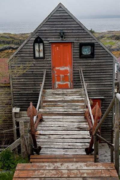 Red Door in Fisherman's House - Nova Scotia, Canada