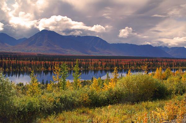 Summit Lake, Alaska on a beautiful fall day.