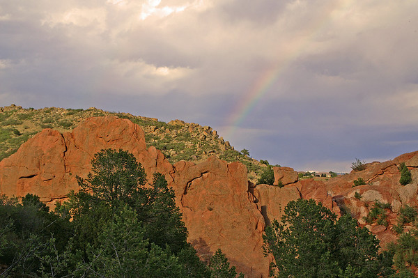 11-5-10: Following a thunderstorm a rainbow appeared over Garden of the Gods in Colorado Springs.