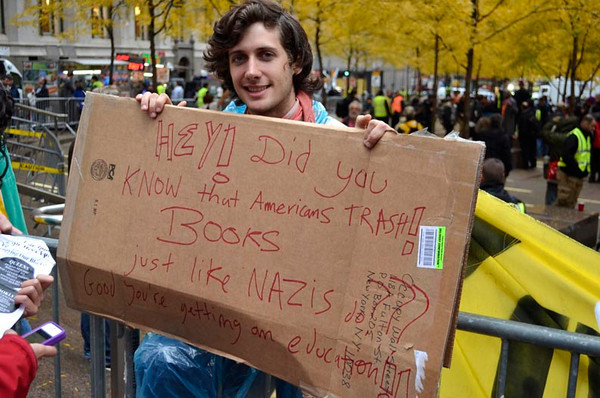 Occupy Wall Street protest movement, November 11, 2011, in Zuccotti Park.