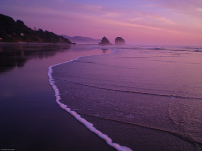 Tide Going Out; Night Coming In Cannon Beach, Oregon