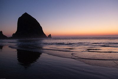 Haystack Rock at Twilight Cannon Beach, Oregon