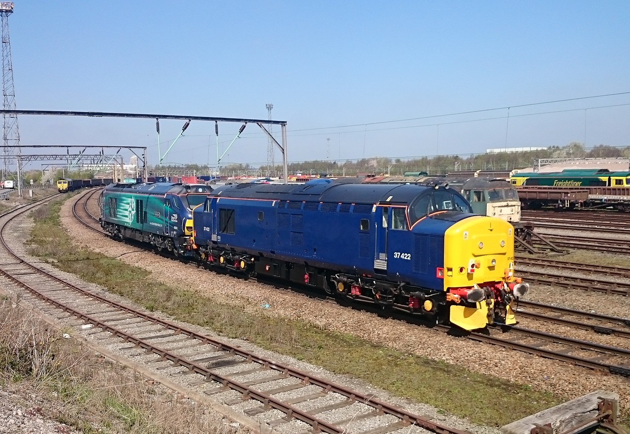 37422 and 68001, Crewe Basford Hall. 23/04/15.