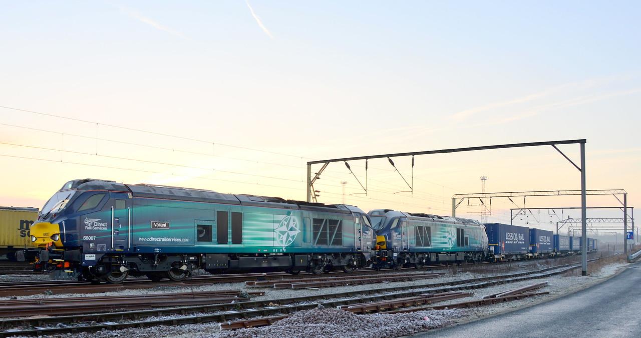 68007 and 68004, Crewe Basford Hall. 06/02/15.