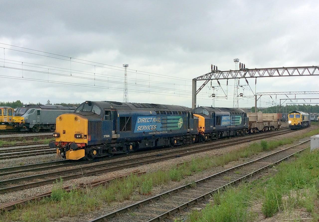 37606 and 37603, Crewe Basford Hall. 25/05/16.