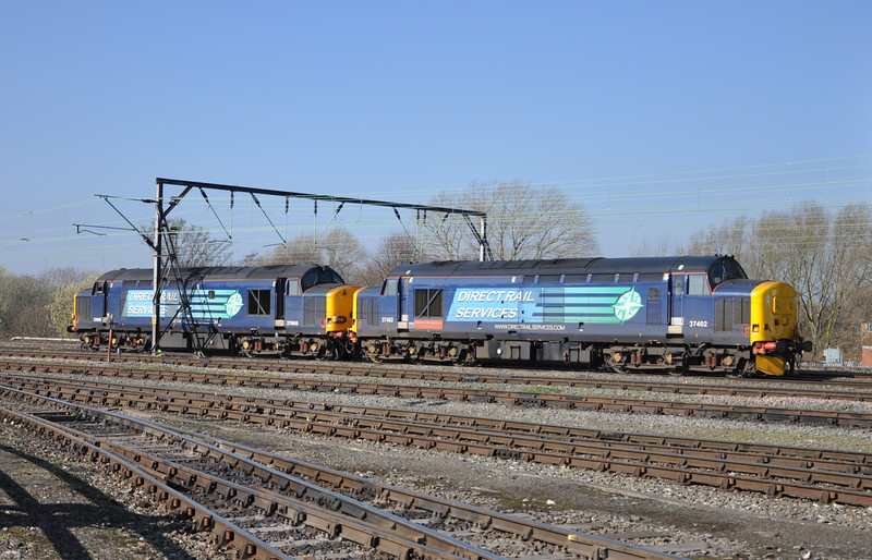 37402 and 37609, Crewe Gresty Bridge. 11/03/14.