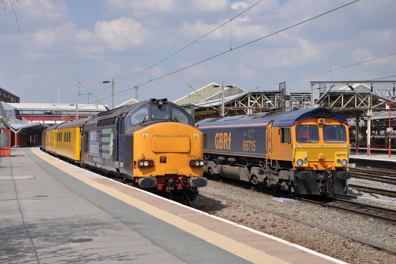 37610 and 66715, Crewe. 07/05/13.