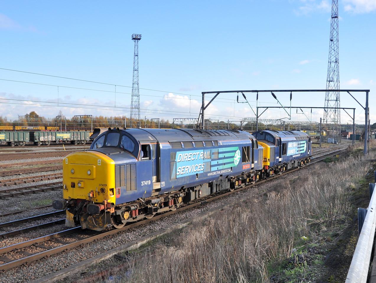 37419 and 37059, Crewe Basford Hall. 22/11/13.