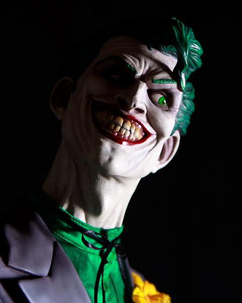 Joker bust lit with an off-shoe flash