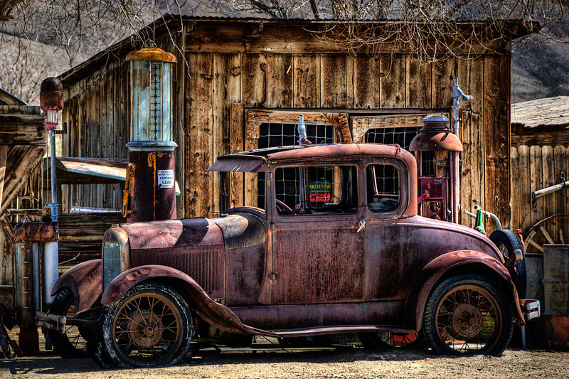 Ford Model A and Gas Station - Bishop, CA